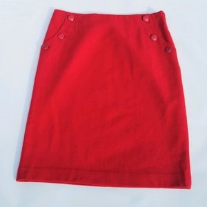 J. Crew Red Wool A-Line Skirt